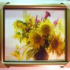 Tablou pictat manual pe panza in ulei Vaza cu Floarea Soarelui A-178, Natura, Realism