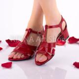 Sandale dama din piele naturala, lacuita, rosii - NAA55ROSU