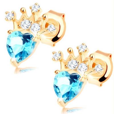 Cercei, aur galben 9K - inim[ topaz albastru, coroană strălucitoare foto