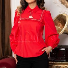 Bluza tip ie rosie cu motive traditionale