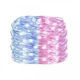 Instalatie luminoasa LED de Craciun, 100 led-uri, roz/albastru, 10m, Alimentare Baterii 3xAA
