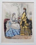 LA MODE ILLUSTREE , GRAVURA COLORATA MANUAL , DOUA DOAMNE IN ROCHIE ALBA SI GALBENA , PENTRU JURNAL DE MODA , DATATA 1870