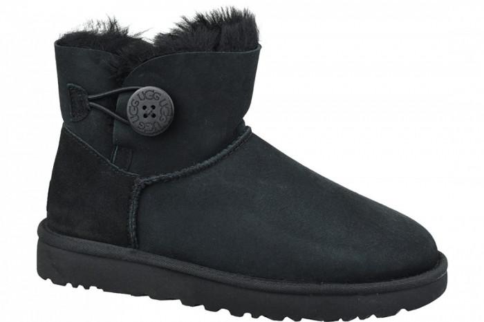 Pantofi de iarna UGG Mini Bailey Button II 1016422-BLK pentru Femei