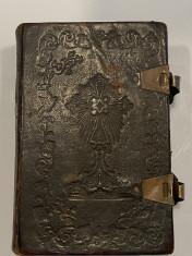 Carte religioasa veche chirilica secol 19 Carte de rugaciuni acatistier foto