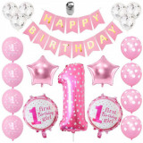 Set 21 baloane pentru aniversare petrecere HAPPY BIRTHDAY - 1 ani, Oem