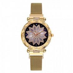 Ceas dama GENEVA CS1027, model Starry Sky, bratara magnetica, elegant, auriu