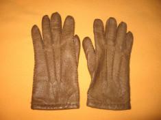 Manusi piele naturala bej inchis Mar 7,5 foto