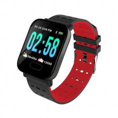 Bratara fitness inteligenta A6 cu functie de monitorizare ritm cardiac, Tensiune arteriala, Monitorizare somn, Notificari, Pedometru, Bluetooth, Rosie