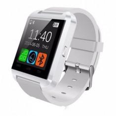 Ceas smartwatch OEM-U8, Functie telefon, SMS, Bluetooth, Pedometru, Barometru, Calendar, Model Alb