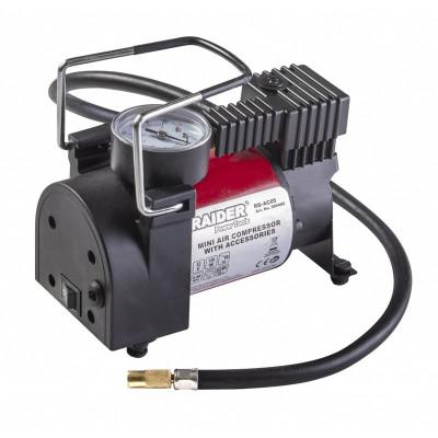 Minicompresor auto Raider, 120 W, 12 V DC, 35 l/min, 9.6 BAR, manometru foto