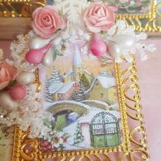 Set 6 decoratiuni de brad/ globuri de Craciun auriu cadou shabby chic vintage