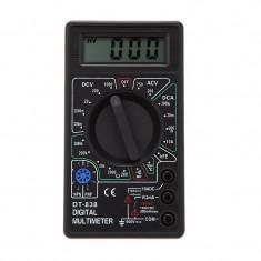 Multimetru digital, 9V, ecran LCD, sonda temperatura, negru