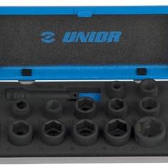 "Trusa capete chei tubulare de impact 3/8 in cutie metalica - 230/4MB1 - UNIOR - 16 - 3/8"""