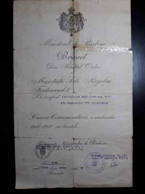 BREVET - FERDINAND - MINISTERU DE RAZBOIU - CRUCEA COMEMORATIVA  1916 - 1918 foto