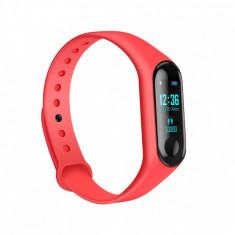 Bratara fitness inteligenta M3 cu masurarea tensiunii arteriale, Ritm cardiac, Notificari, Pedometru, Bluetooth, IP67 - Rosie