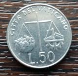 (M2184) MONEDA VATICAN - 50 LIRE 1992, STARE FOARTE BUNA, Europa