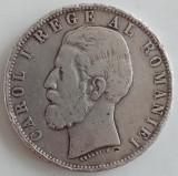 Regatul Romaniei - 5 Lei 1881 - Rege - Argint