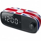 Radio cu ceas MUSE M-168 UK, Dual alarm, 0.9 inch white LED, Wake up by Radio or Buzzer, Snooze, Sleep, design London