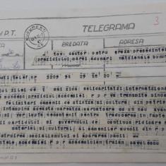 PETRU GROZA. Telegrama din 1955 de la Tr. Savulescu,Presedintele Acad. Romane