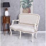 Sofa baroc din lemn masiv alb cu tapiterie din catifea grej CAT360K18, Sufragerii si mobilier salon