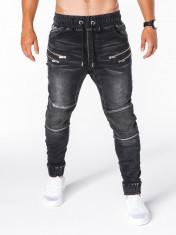 Blugi pentru barbati negri cu siret elastici slim fit cu buzunare decorative P405 foto