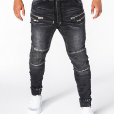 Blugi pentru barbati negri cu siret elastici slim fit cu buzunare decorative P405