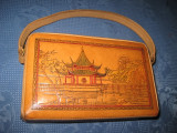1256-Poseta Vintage China din piele perioada 1960, stare buna.