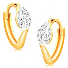 Cercei din aur 14K - cercuri cu o picătură din zirconii transparente