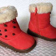 Cizme iarna rosii imblanite tinte fermoar fetite copii piele eco 20 21, Fete, Din imagine