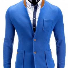 Sacou pentru barbati albastru casual slim fit cu buzunare aplicate elegant inchidere doi nasturi stil jacheta M07