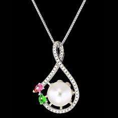 Colier din Argint 925 cu Perla Naturala si Diamante, Snake