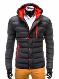 Geaca pentru barbati, negru, ideal ski, de iarna cu gluga, fermoar si nasturi, model slim - c124, M, S
