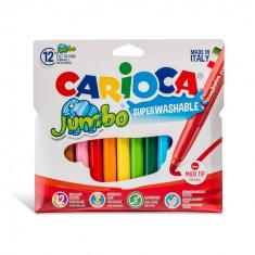 Carioca Jumbo super lavabila varf rotund Set 12 culori diferite.