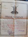 Titlu de proprietate vechi Campulung Muscel, sec XIX, 40x30 cm, stare perfecta