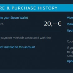 Cont STEAM cu credit 20 euro neutilizat