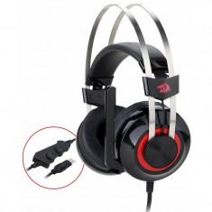 Casti Gaming Redragon Talos Black, Sunet surround 7.1, Telecomanda pe fir, USB,...