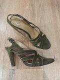 LICHIDARE STOC! Superbe sandale dama noi piele intoarsa naturala khaki comode 37
