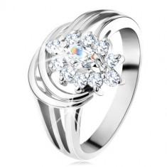 Inel lucios, brațe despicate de culoare argintie, zirconiu transparent în formă de floare - Marime inel: 59