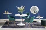 Cumpara ieftin Set masa din MDF si metal Slim Alb + 3 scaune tapitate cu stofa K306 Verde inchis / Auriu, Ø100xH75 cm