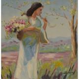 Femeie cu un brat de flori-pictura in ulei PC-121, Portrete, Realism