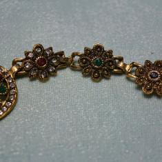 Bratara marcata Ag 925 Hurrem TURKISH Gold Filled RUBIN TOPAZ pietre diferite