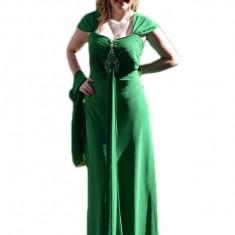 Rochie de gala verde cu model fronsat in zona bustului