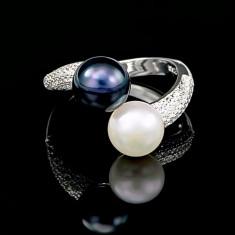 Inel din Argint 925 cu Perle Naturale si Diamante, Raffaella Black & White
