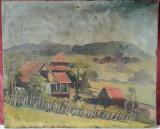 Casa la tara, pictura veche in ulei pe panza