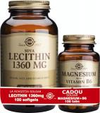 Solgar Pachet Lecithin 1360mg 100cps moi + Magnesium cu B6 100 tablete GRATIS