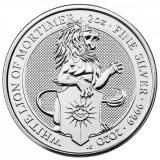 Moneda argint 999 lingou,QUEEN'S BEAST 2020 WHITE LION of MORTIMER 2oz = 31g