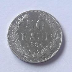 ROMANIA - 50 Bani 1884  .  Argint .  Moneda rara si  foarte frumoasa