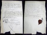 1865 Veche dovada reforma agrara Cuza in comuna Domnesti, sigiliu ministerial
