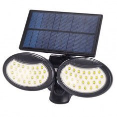 Lampa solara dubla 56 LED cu senzor de miscare, panou solar