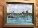 Tablou,pictura in ulei pe lemn,Venetia,semnat, Peisaje, Altul